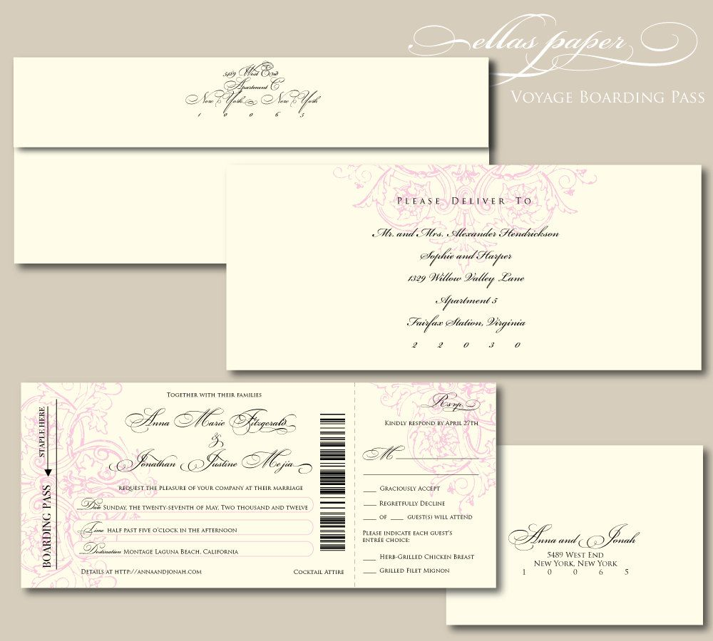 Elegant Boarding Pass Wedding Invitation with perforated rsvp ...