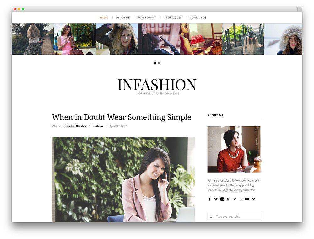 infashion - clean fashion blog theme   webdesign   Pinterest