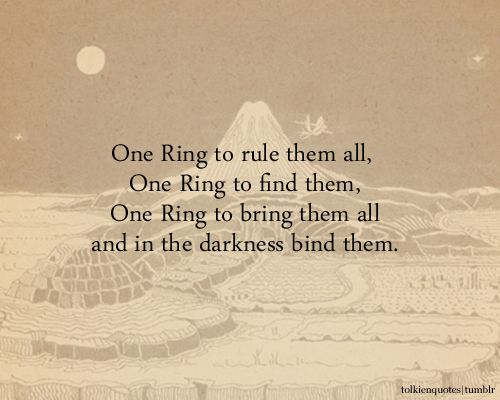 One Ring To Rule Them All Quote Page Number One Ring To Rule Them All One Ring To Find Them One Ring To Bring Them All And In The Darkness Bind Them Gandalf Vi All Quotes Lotr Quotes Tolkien Quotes