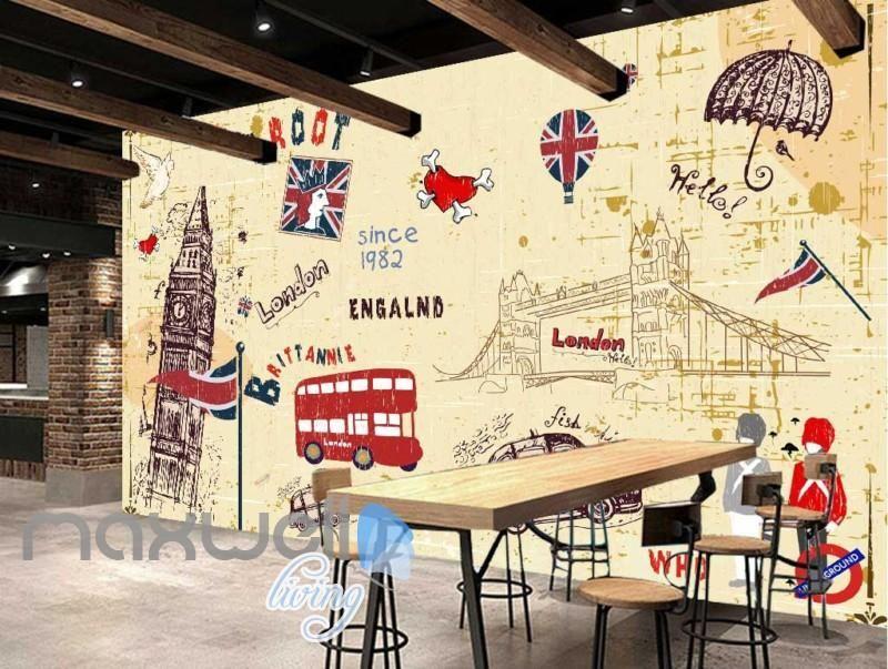 London England Iconic Design Art Wall Murals Wallpaper Decals Prints ...
