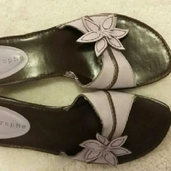 """Apostrophe, lavender leather shoes Lavender, leather slip on shoe. Small heel (2""""). Laminated wood heel. Great condition. Apostrophe  Shoes Wedges"""