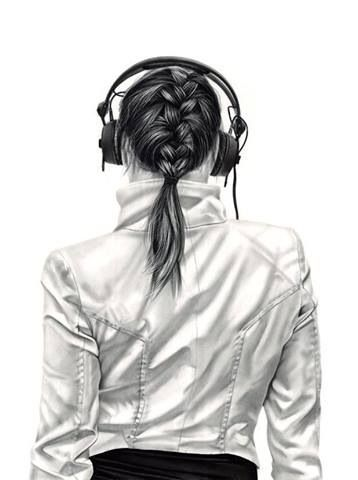 Paintings By Yanni Floros Girl With Headphones Headphones Art Charcoal Drawing