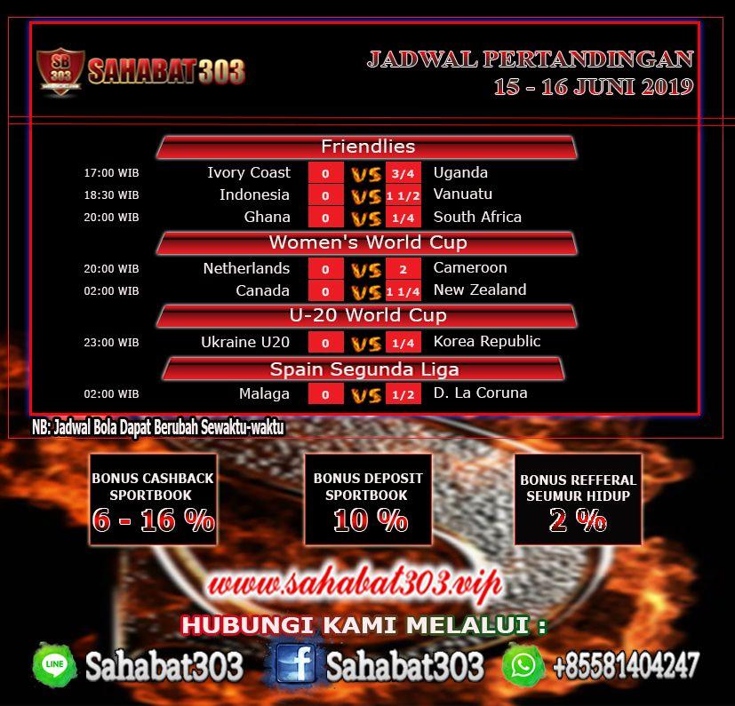 Jadwal Pertandingan Sepak Bola 15 16 Juni 2019 Sepak