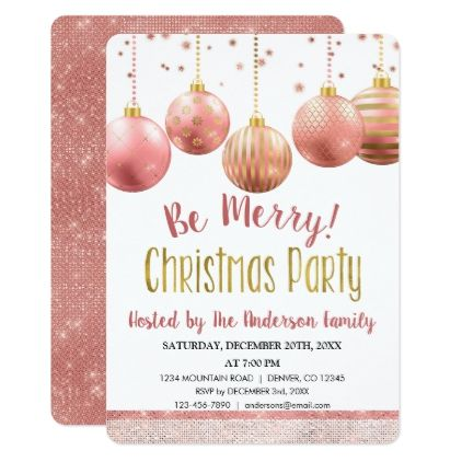 Rose Gold Ornament Christmas Holiday Dinner Party Invitation