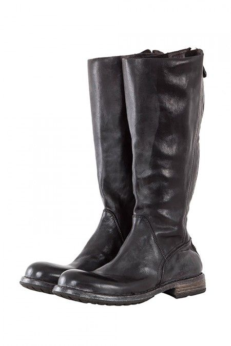 e67280f52e235a MOMA Damen Stiefel mit Zip CUSNA NERO schwarz  Flacher lässiger Lederstiefel  vom italienischen Premiumlabel Moma. Der Schuh ist aus weichem sehr  aufwendig ...