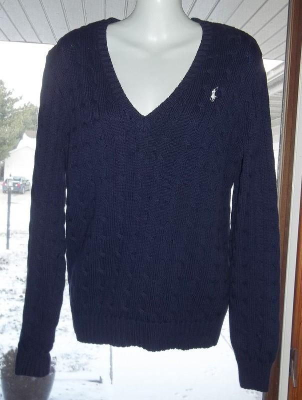 Ralph Lauren Women's XL Pullover Sweater Navy Blue Cable Stitch V ...