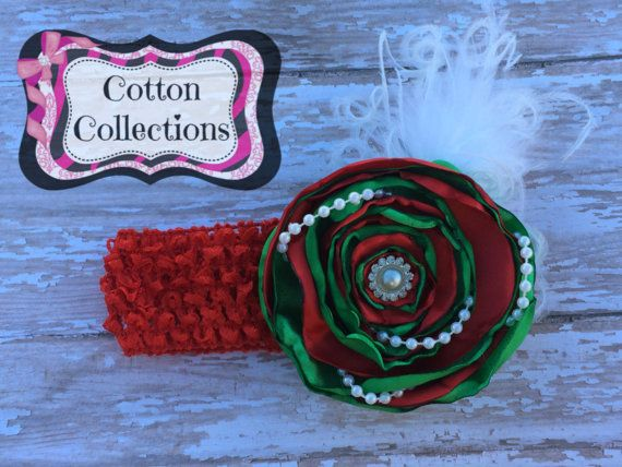Red and Green singed flower headband by CottonCollections on Etsy