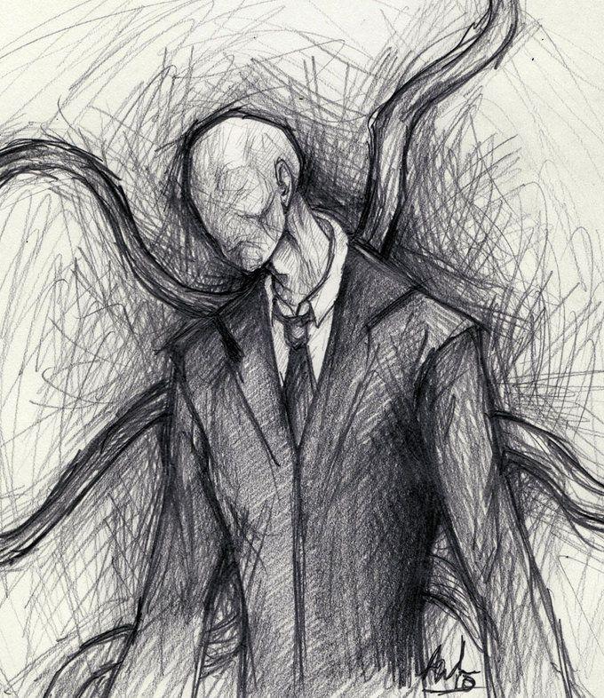 Pencil Drawing Slender Man Scary Drawings Creepy Drawings Dark Art Drawings