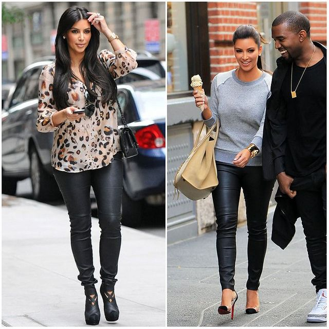Kim Kardashian leather leggings