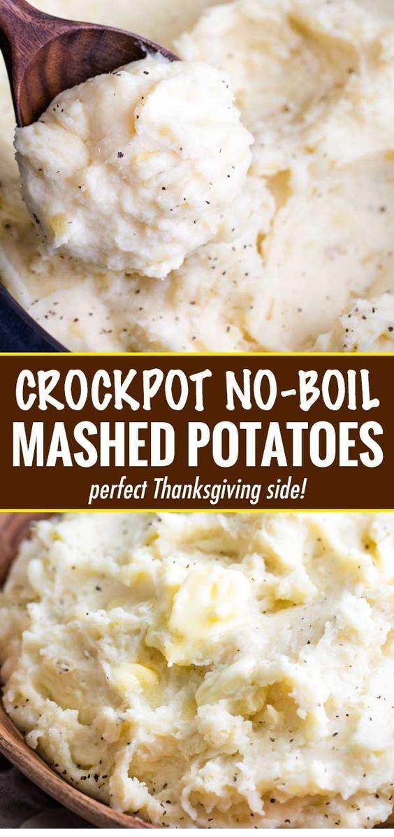 Homestyle Crockpot (No-Boil) Mashed Potatoes  #thanksgivingrecipes