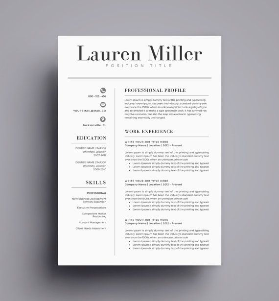 Resume Template \/ CV Template for Word, Cover Letter, Two Page - two page resume template