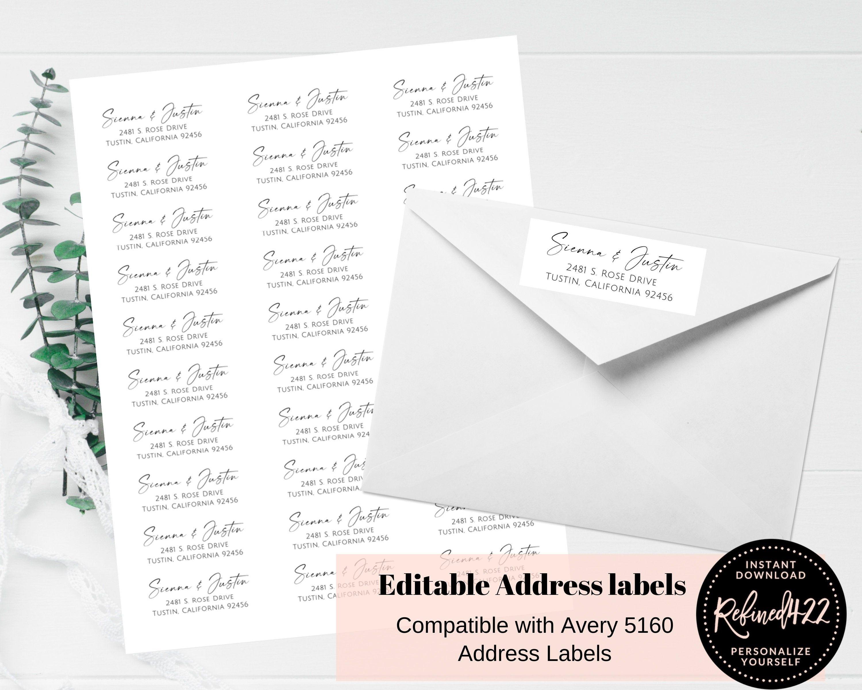 Return Address Labels Self Editable Avery Labels 5160 Label Etsy In 2021 Return Address Labels Address Labels Diy Prints Avery return address labels 5160