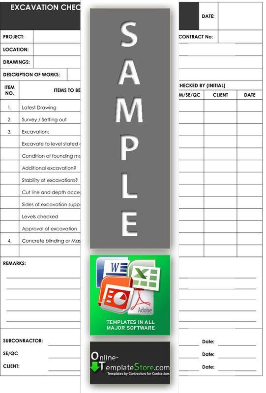 Excavation Checklist Project Management Templates Project