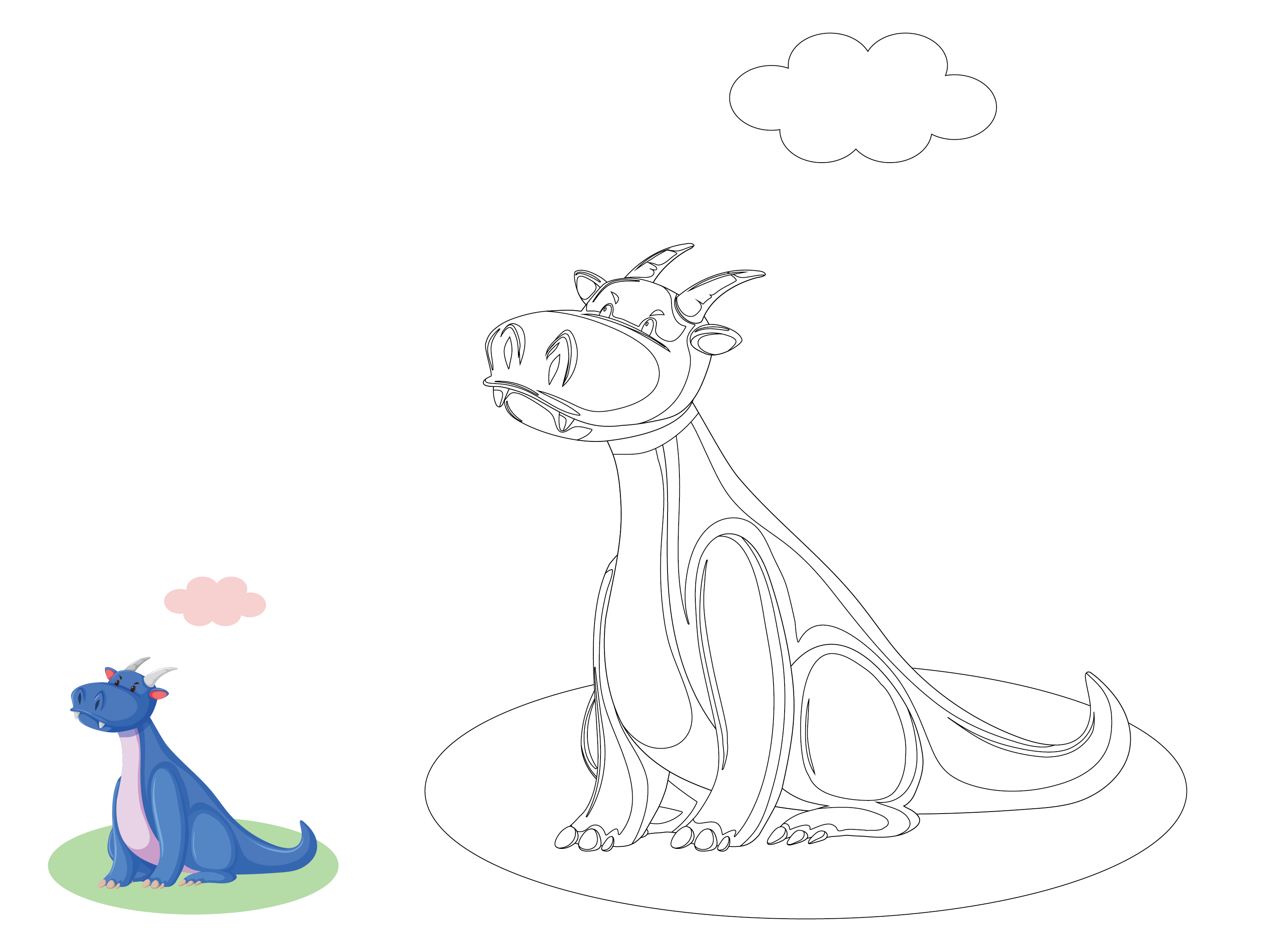 Animal Dragon Kids Coloring (Graphic) by