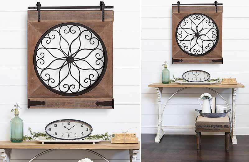 Add eclectic farmhouse style to your home with our hanging barn door wall decor this vintage can be added above entryway table also huge ornate rustic art steals favorites rh pinterest