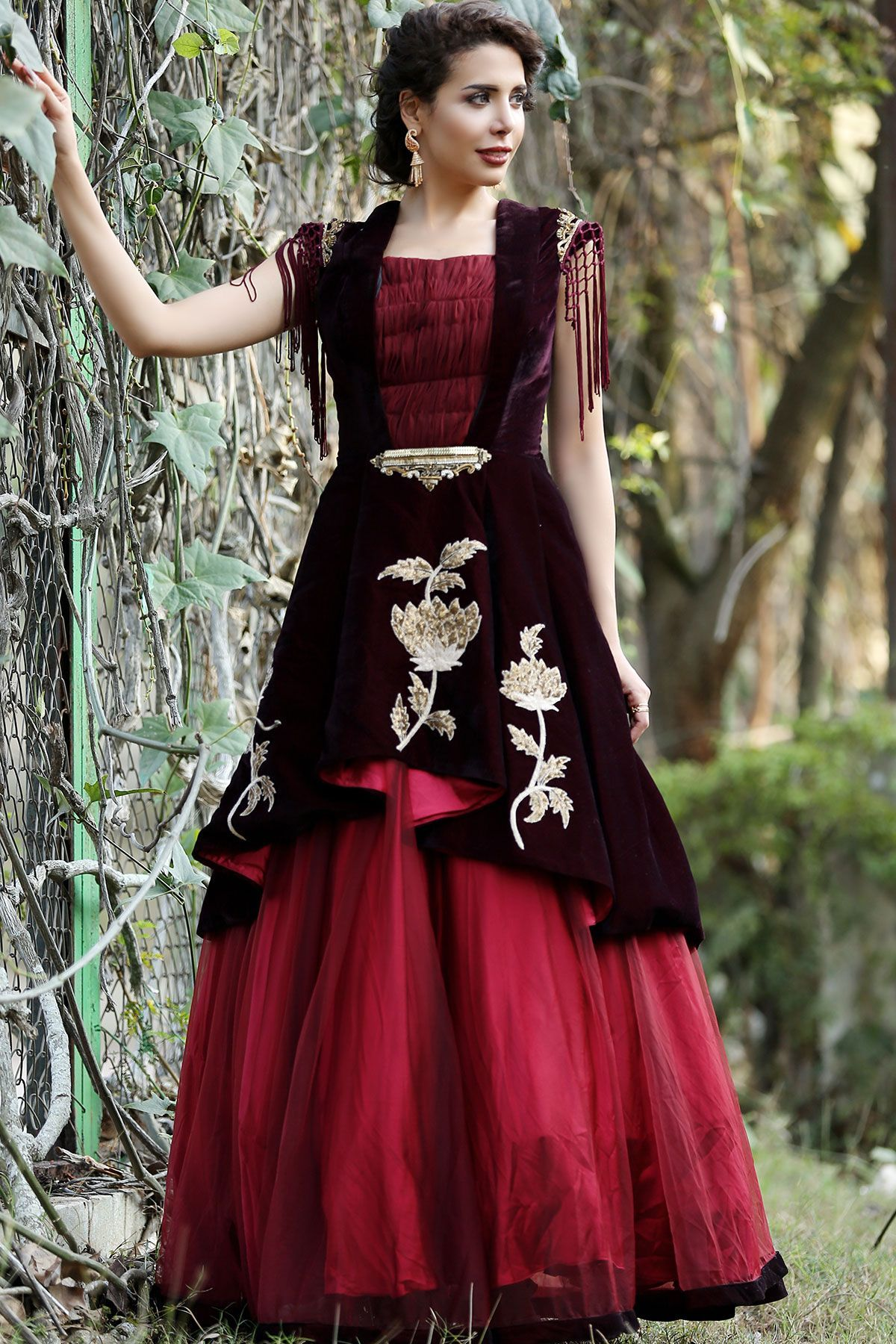 c0d1cc953 Buy Maroon Velvet Zardosi Embroidered Evening Gown Online | Dress ...