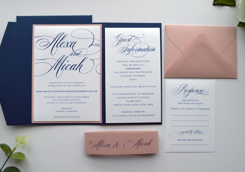Navy Wedding Invitations, Navy Blue Wedding Invitations, Blue and ...