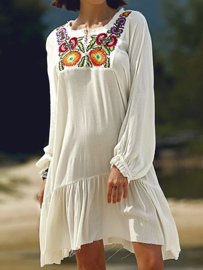 SHARE & Get it FREE | Long Sleeve Embroidery Round Neck DressFor Fashion Lovers only:80,000+ Items • New Arrivals Daily Join Zaful: Get YOUR $50 NOW!
