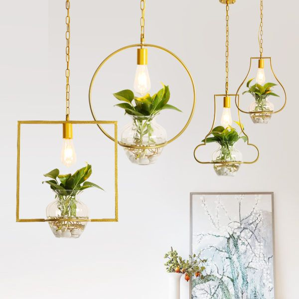 Gold Geometrical Pendant Lights with Planters