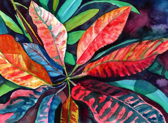 Colorful Tropical Leaves 2 Original Watercolor Painting of Tropical Foliage from Kauai Hawaii by Marionette  orange blue red