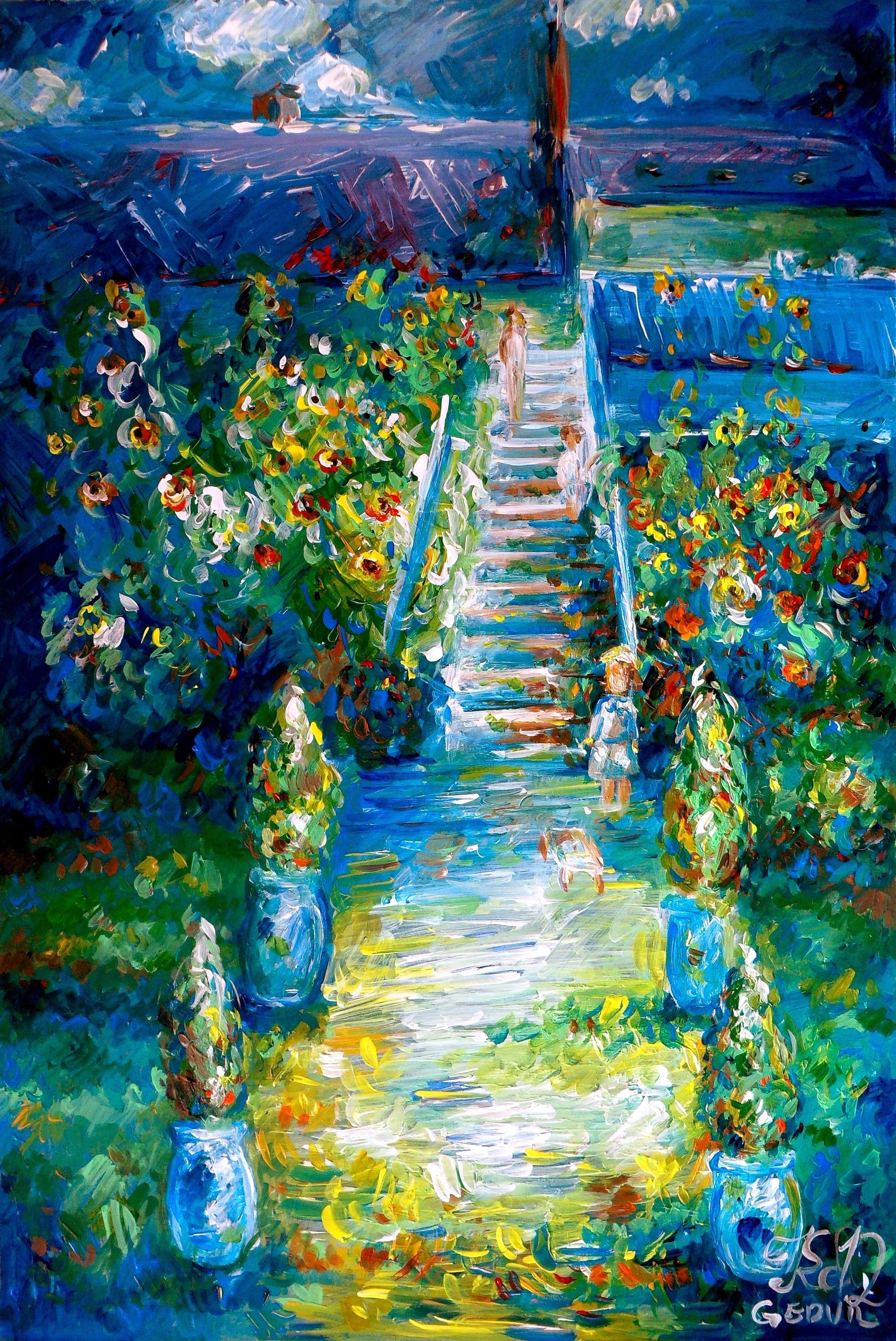 My version of claude monet 39 s painting the artist 39 s garden for Claude monet artwork