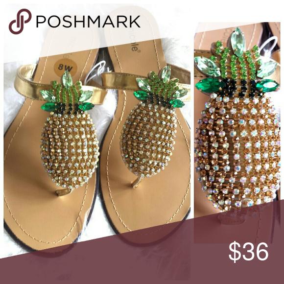2361c9bbd NWT Pineapple Rhinestone Bling Flip Flops Sandals New Size 8 Beautiful  Rhinestone Summer Fun Pineapple Sandals Nicole Shoes Sandals