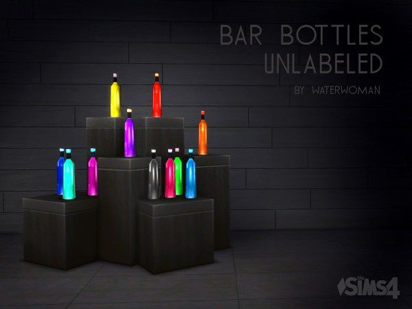 Unlabeled bar bottles by Waterwoman at Akisima • Sims 4 Updates