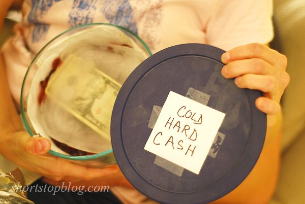 White elephant gift idea super funny gifts pinterest white christmas gift cold hard cash money frozen in water ha gotta do this for the jarnigan family christmas party solutioingenieria Choice Image