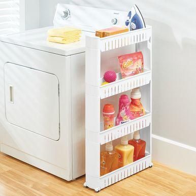 Slim 4 Tier Rolling Laundry Cart Utility Shelf In 2020 Utility