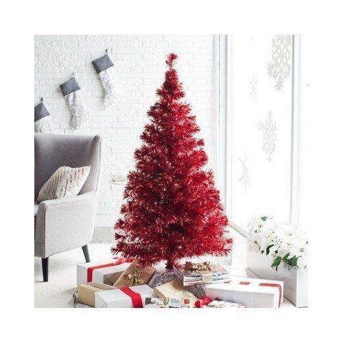 Metallic Red Medium Fiber Optic Pre Lit Christmas Tree 5.5 ft ...