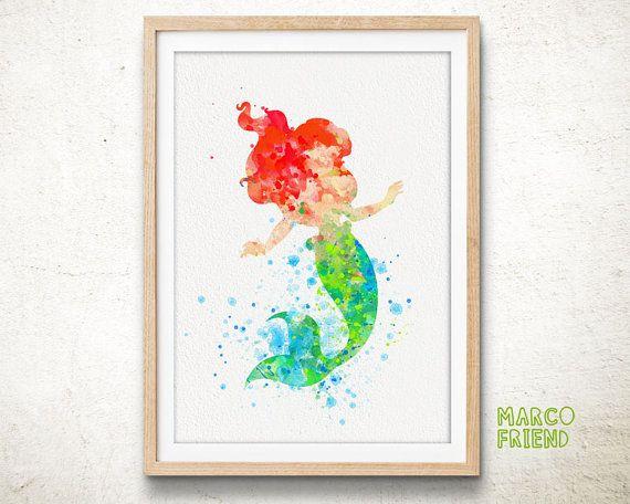 Poster de princesa ariel disney imprimir acuarela arte - Decoracion habitacion nino ...