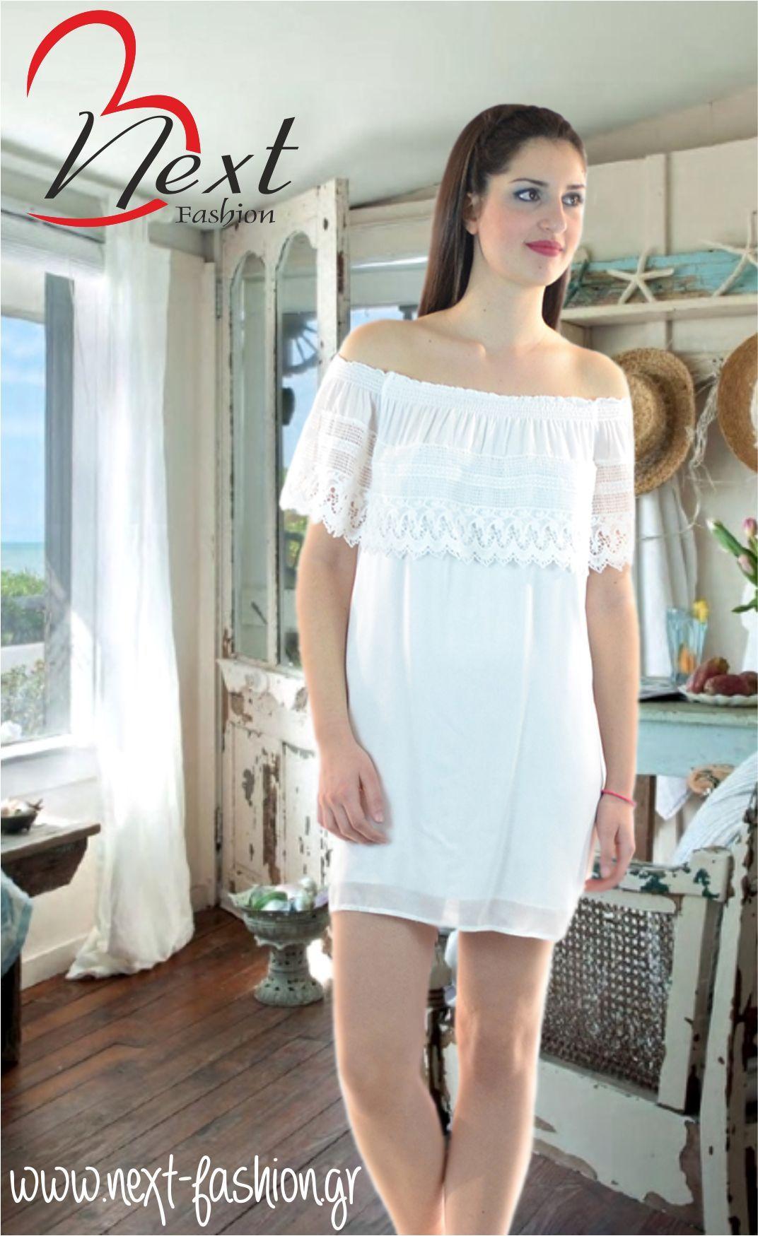 2b2e813f14af Φόρεμα BSB Μίνι με Σούρα και Βολάν στους Ώμους Spring Summer 2015