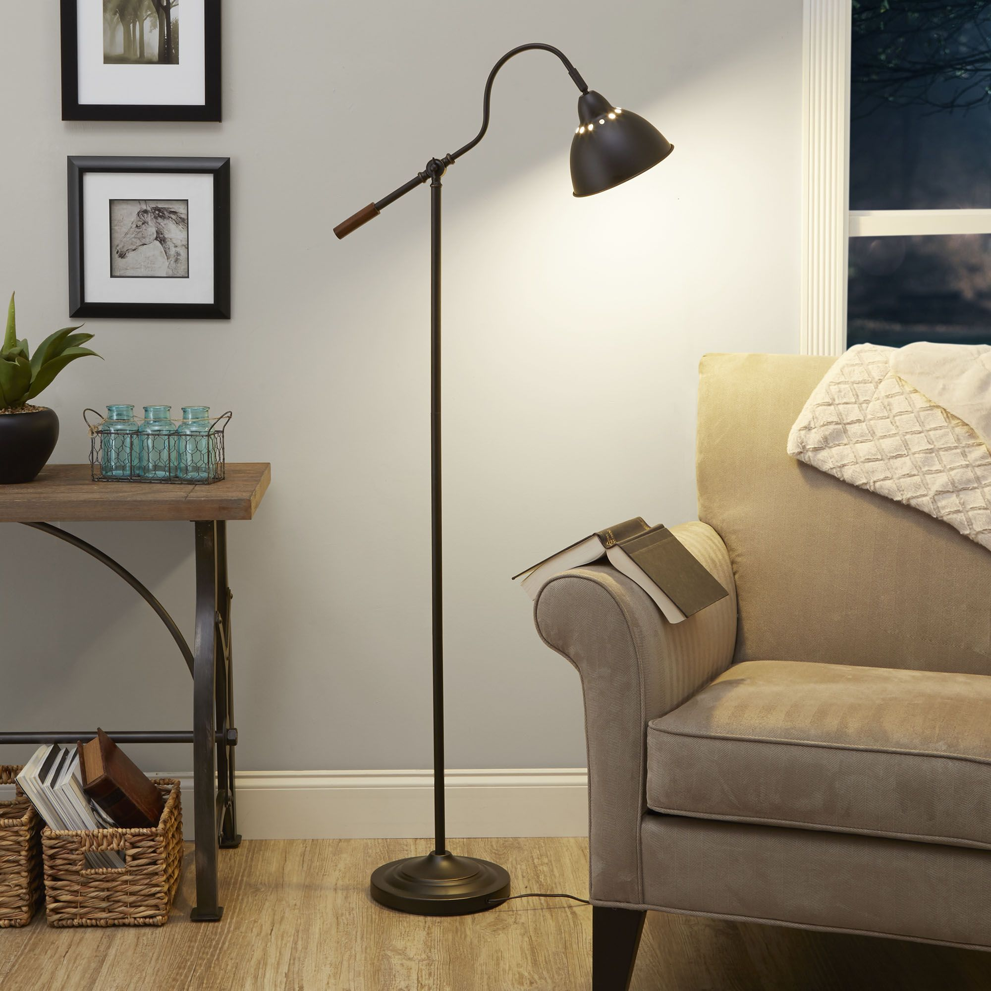 Better homes gardens 5 foot adjustable arm floor lamp oil rubbed bronze finish led bulb included walmart com