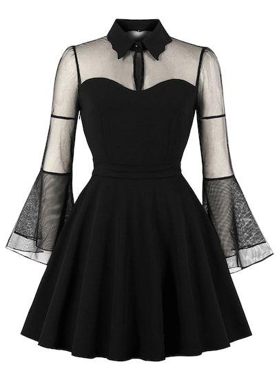Contrast Mesh Solid Dress #blackdresscasual