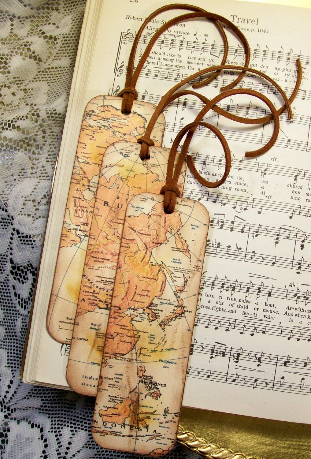 Russia China India Indonesia Map Bookmarks Set of 3 Gifts