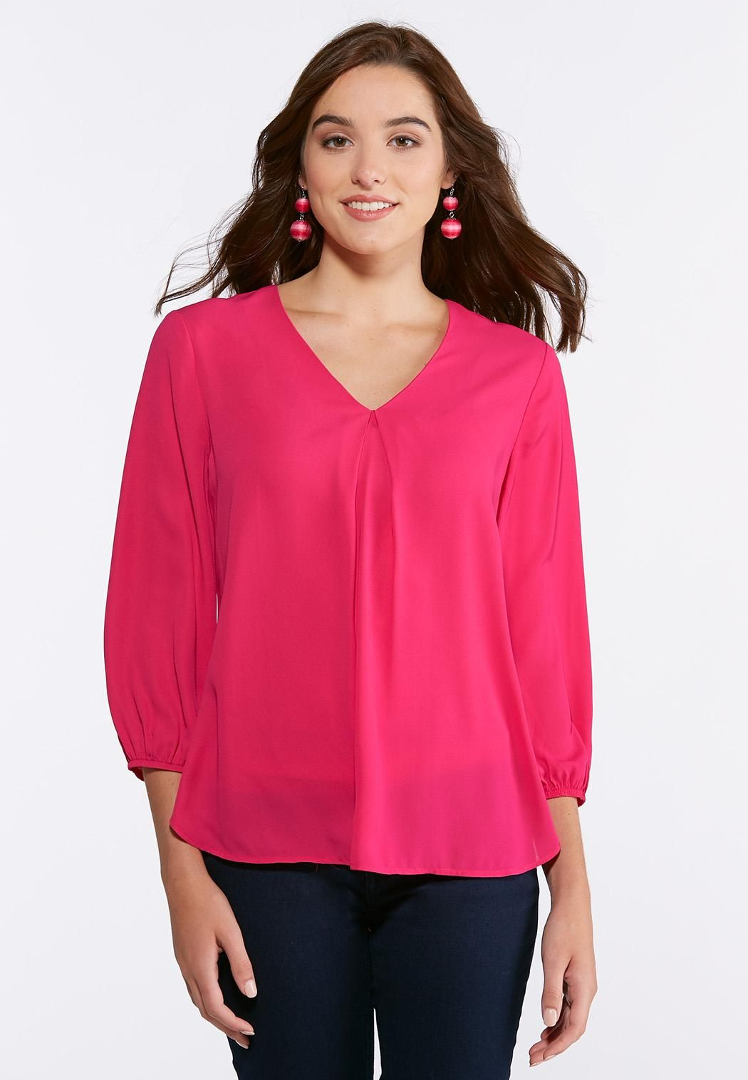 821bfb50e87 Plus Size V-Neck Pleated Blouse Expand your versatile work or play wardrobe  with this lightweight blouse