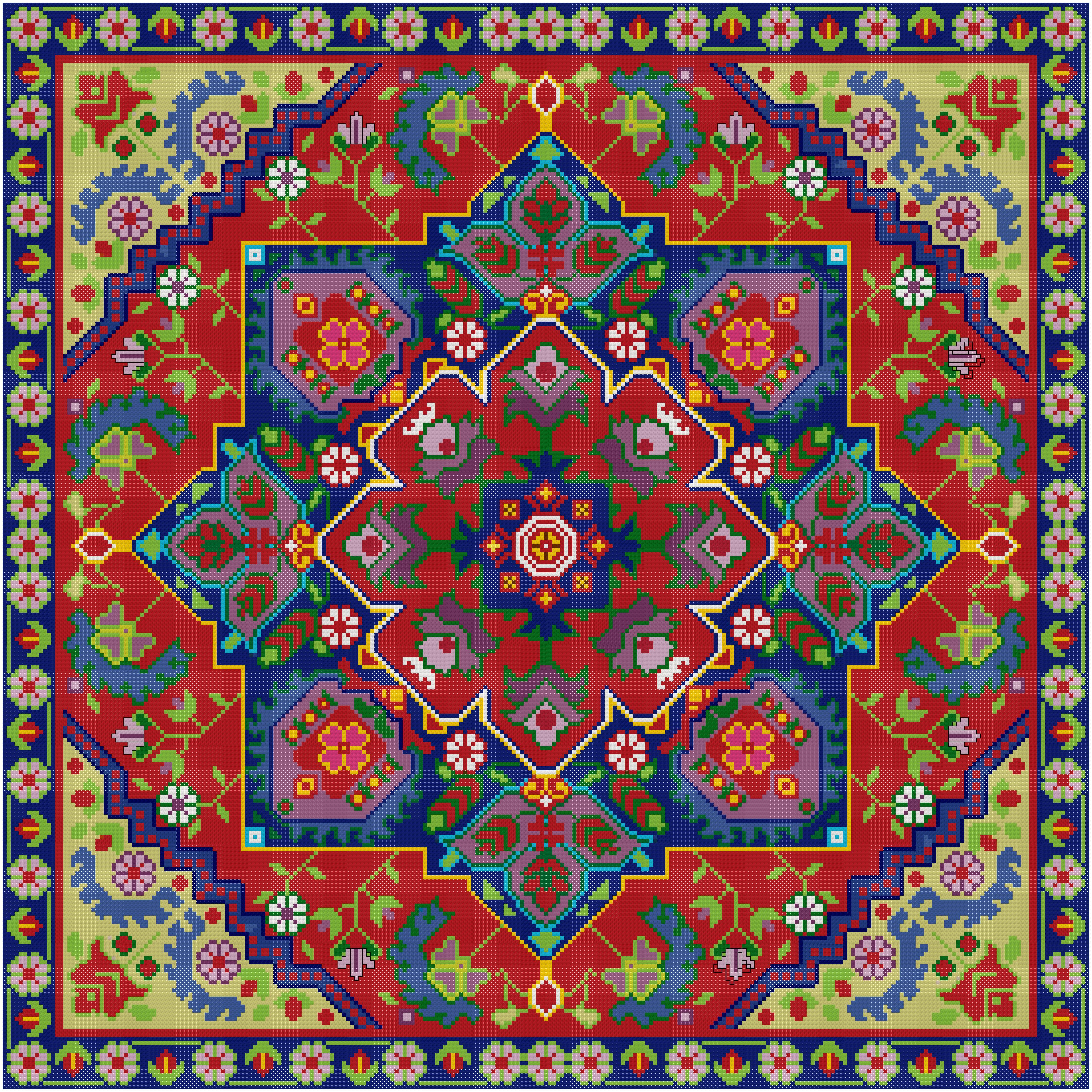 This Cross Stitch Pattern Features A Design Taken From A Vintage Persian Rug Cross Stitch Cross Stitch Patterns Cross Stitch Designs