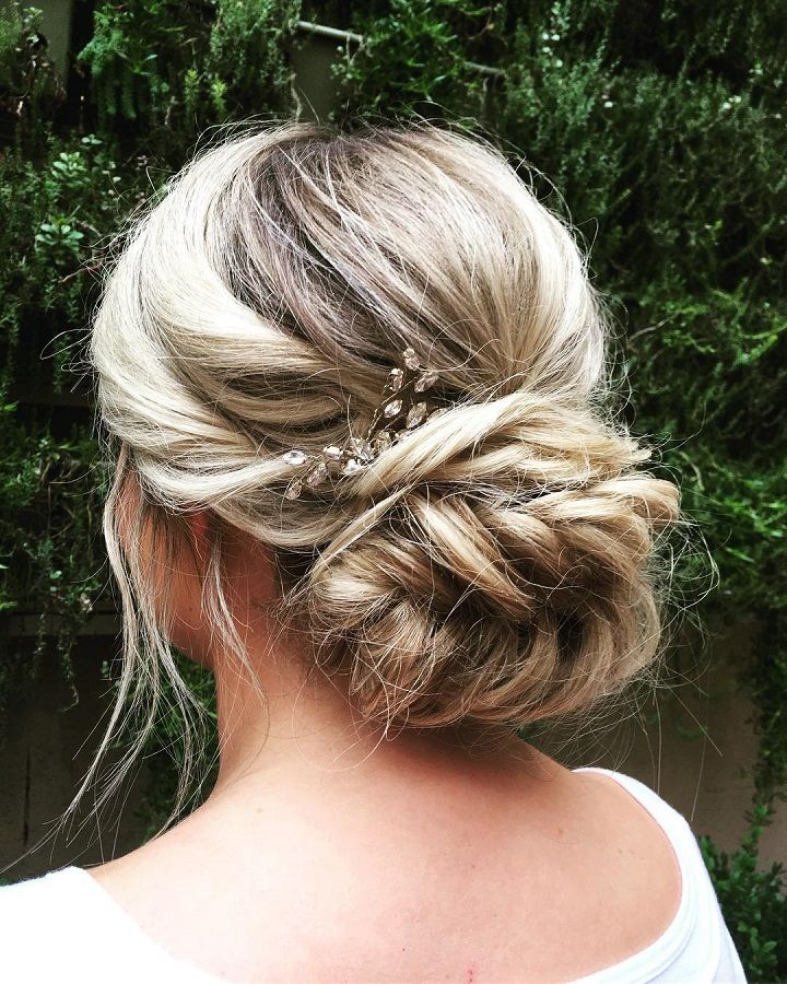 Bridesmaid Updos With Braids: Fishtail Braided Updo Wedding Hairstyle