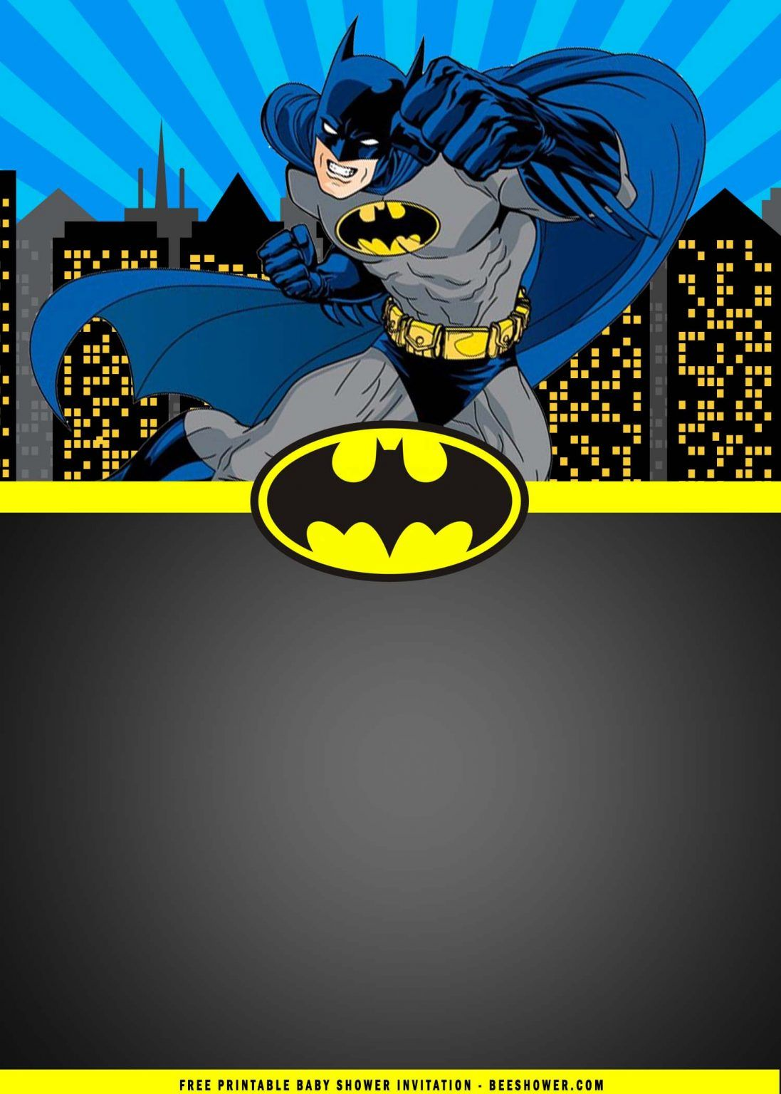 Free Printable Batman Birthday Party Invitation Templates Free Printable Baby Shower Invitations Batman Invitations Batman Birthday Party Batman Birthday