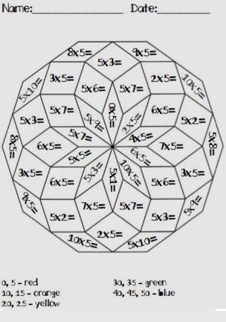 tafeltjeskleurplaat 3de leerjaar wiskunde 2de leerjaar