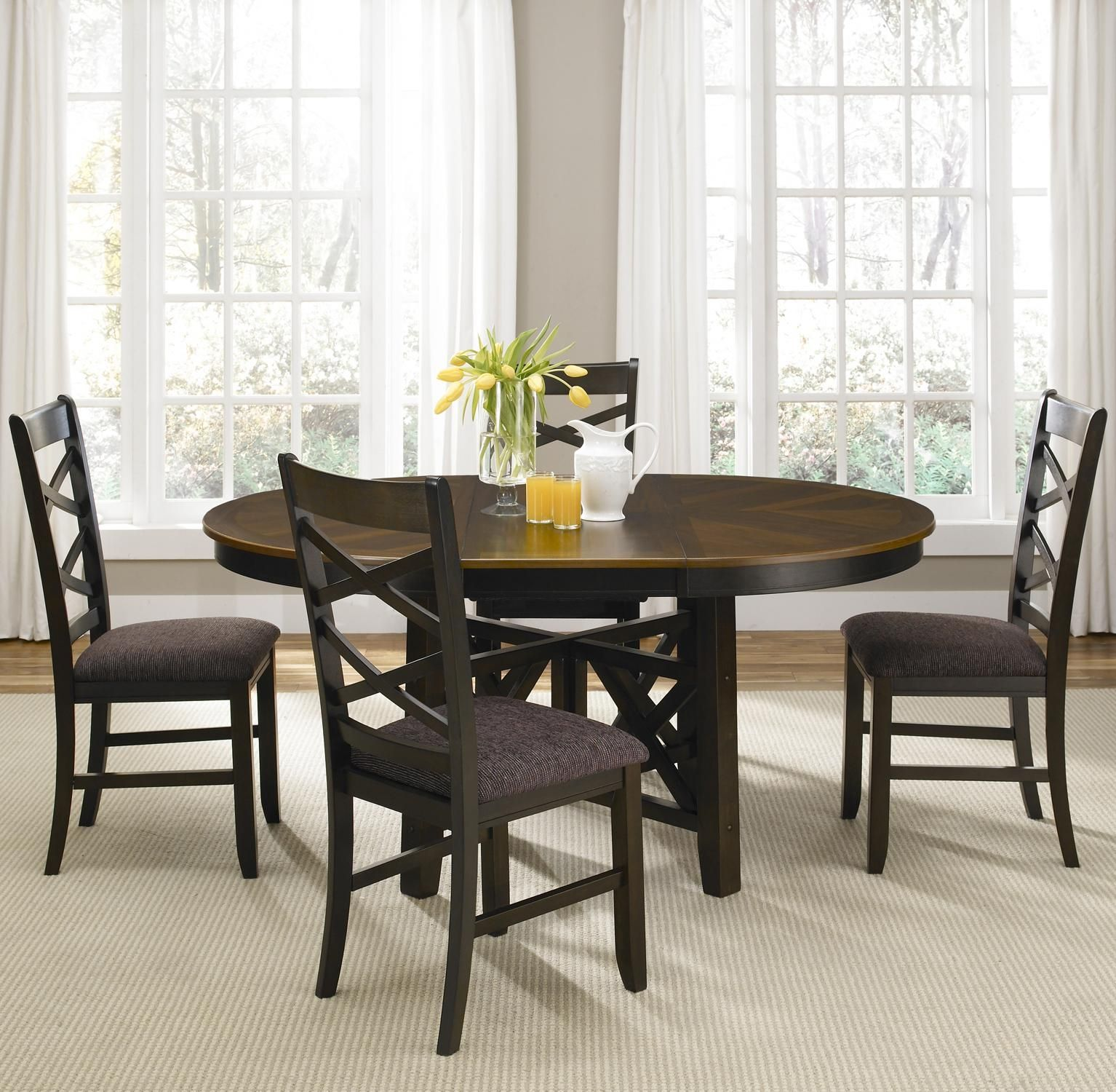 Round Pedestal Dining Table With Butterfly Leaf