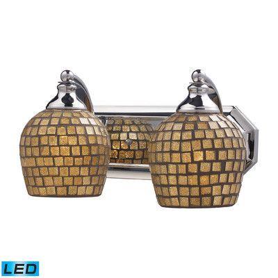 Elk Lighting Vanity 2 Light Vanity Light Finish: Polished Chrome, Shade Color: Gold, Bulb Type: LED