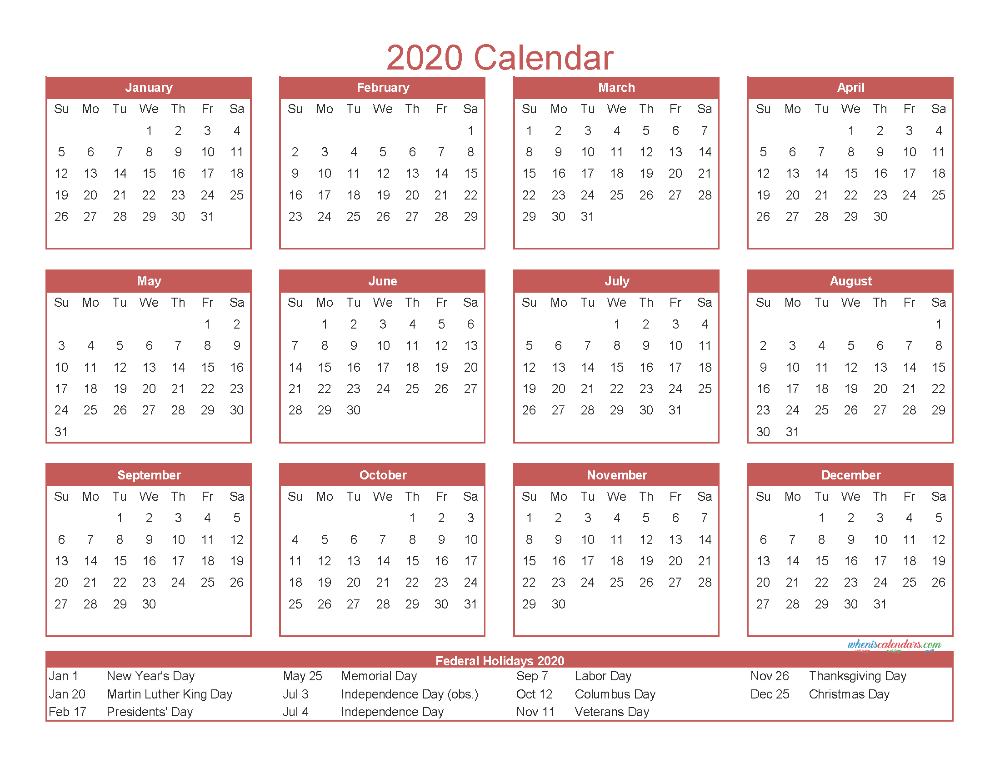 Free Printable 12 Month Calendar 2020 With Holidays Free Printable 2020 Calendar Templates Calendar Template Calendar 2020 2020 Calendar Template
