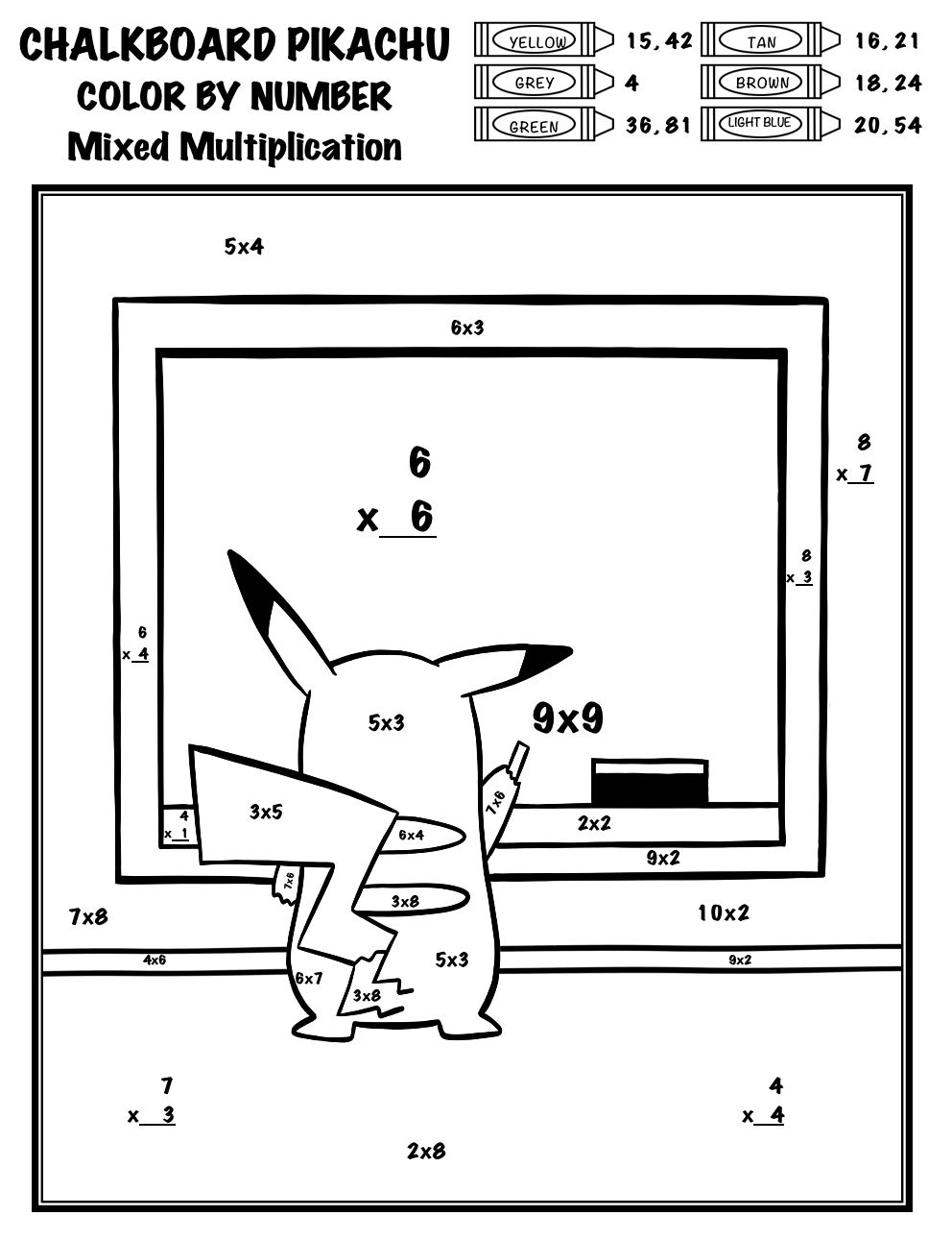 Pokemon Color By Number Add Subtract Multiply Divide Chalkboard Pikachu Math Activities Elementary Pokemon Coloring Pages Math Pages
