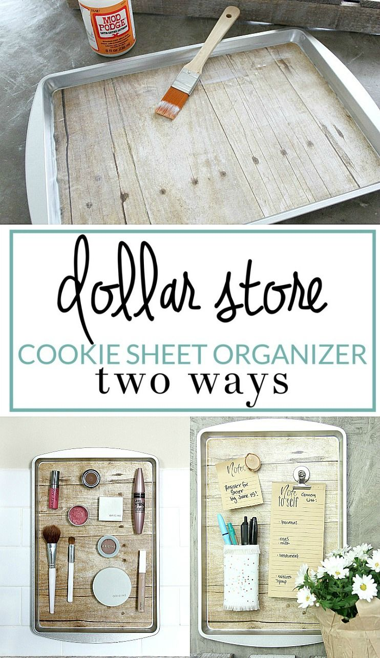 How To Diy A Magnetic Organizer From A Dollar Store Cookie Sheet Organizing Solutions Dollar