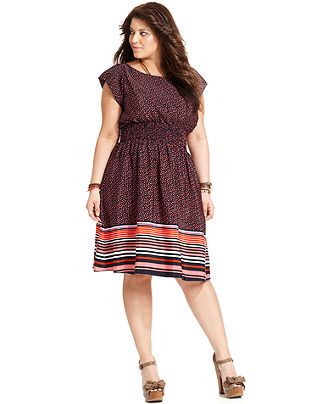 American Rag Plus Size Dress Short Sleeve Printed A Line Plus