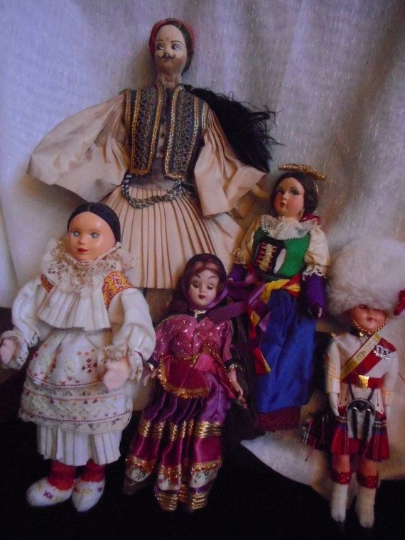 Five Vintage Dolls Representing Different by HeyGrandmaHadThat