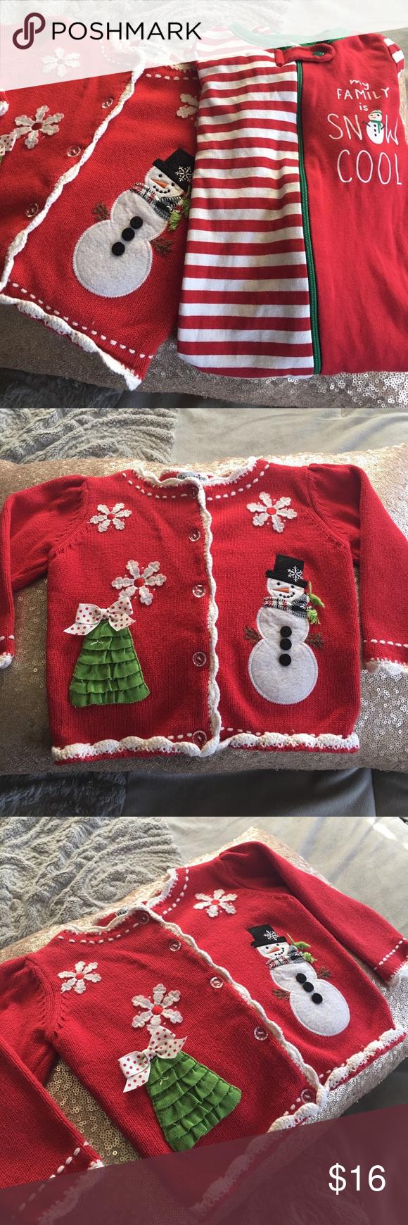 6eca7eac2 Christmas Bundle for 12 month old. Cardigan PJs Adorable Christmas ...