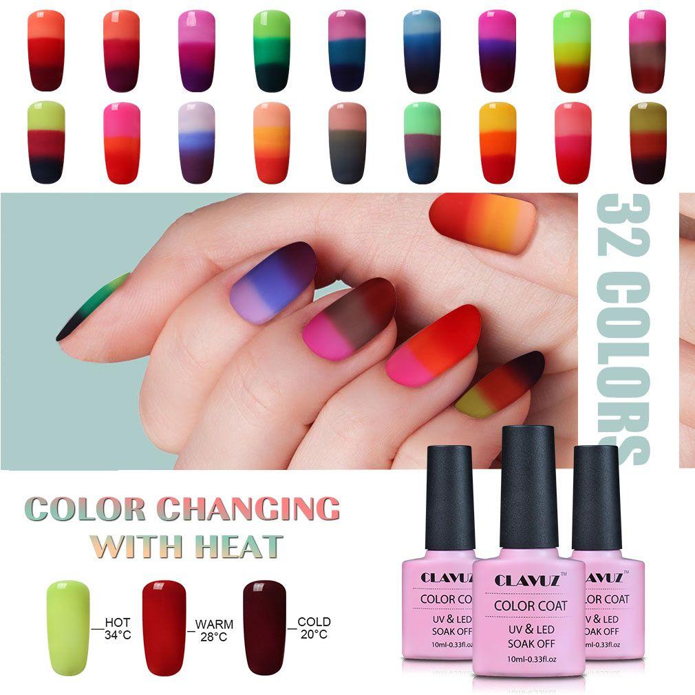 CLAVUZ 3 in 1 Color Changing Nail Polish Peel Off Nail Polish Gel UV ...