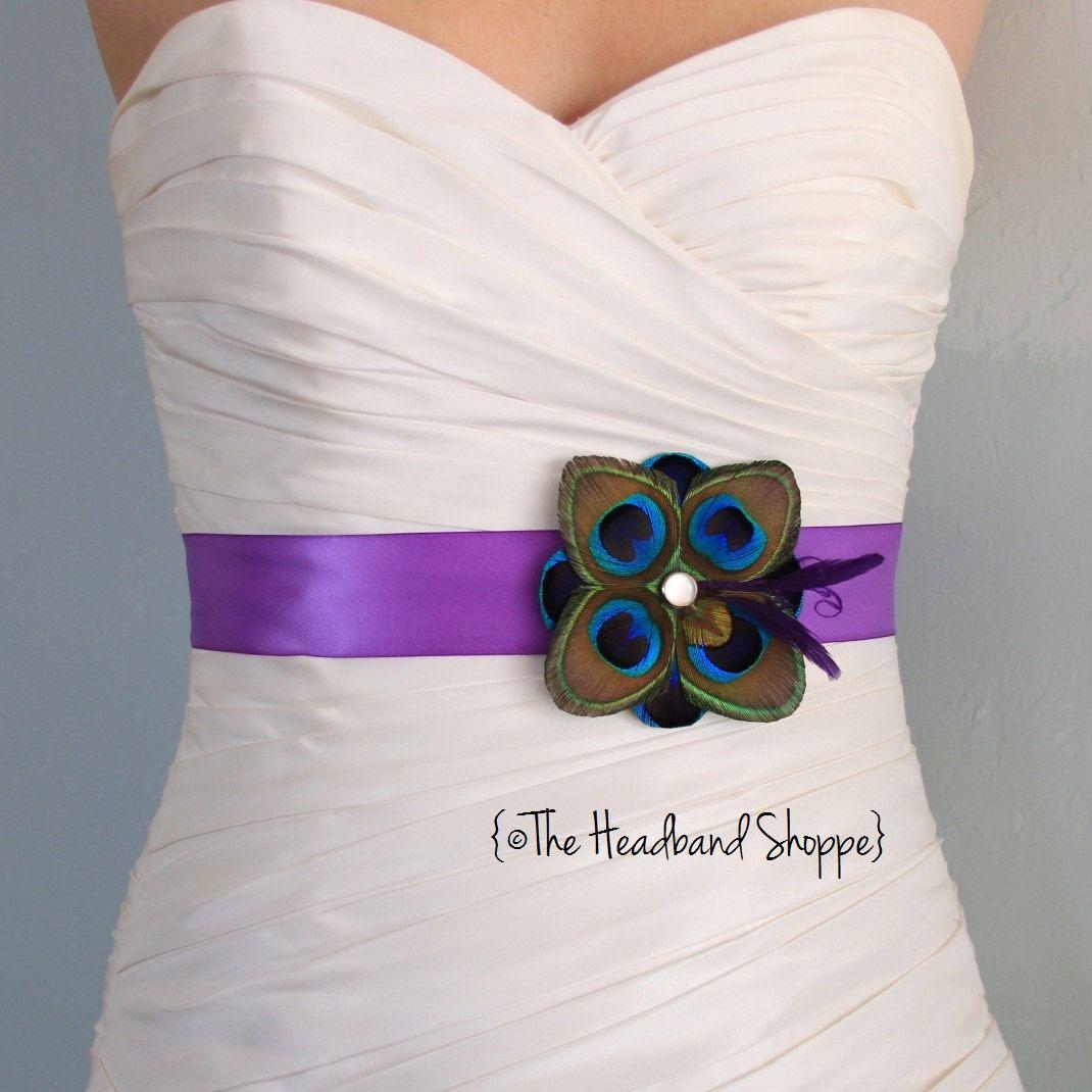 TUSCANY - Peacock Bridal or Bridesmaids Sash in Purple - Ready to Ship. $52.00, via Etsy. Want.
